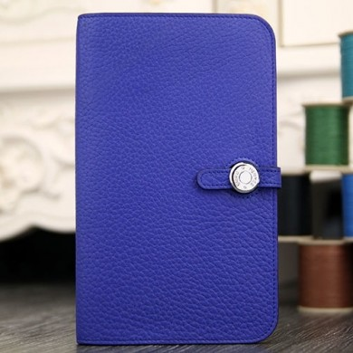 Fake Hermes Dogon Combine Wallet In Electric Blue Leather RS20790