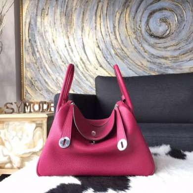 Fashion Imitation Hermes Lindy 26cm/30cm Taurillon Clemence Calfskin Bag Handstitched, Ruby B5 RS09268