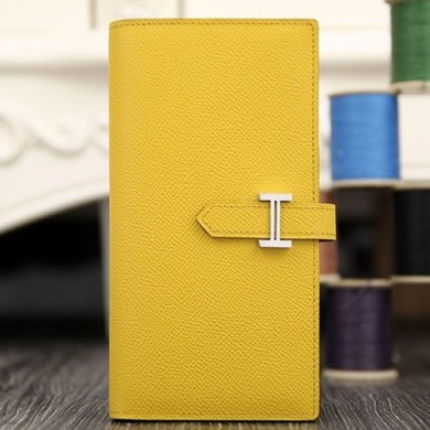 Hermes Bearn Gusset Wallet In Yellow Epsom Leather RS00563