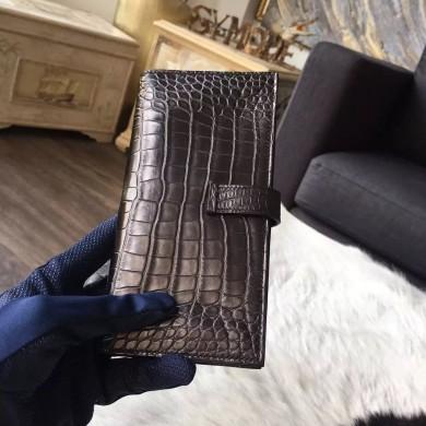 Hermes Bearn Wallet Matte Alligator Crocodile Gold Hardware Handstitched, Noir CK89 RS00413