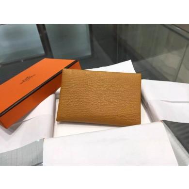 Hermes Calvi Card Holder Case Handstitched Taurillon Clemence Calfskin, Kraft CK2H RS08264