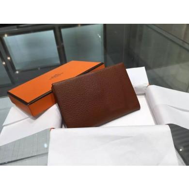 Hermes Calvi Card Holder Case Handstitched Taurillon Clemence Calfskin, Marron Fonce RS06625
