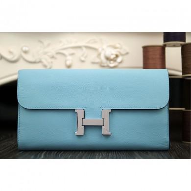 Hermes Constance Wallet In Light Blue Epsom Leather RS13538