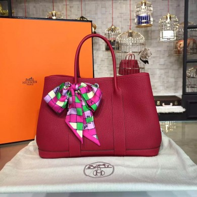 Hermes Garden Party 30cm Togo Calfskin Leather Palladium Hardware High Quality, Rouge Casaque RS02812