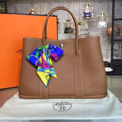 Hermes Garden Party 36cm Togo Calfskin Leather Palladium Hardware High Quality, Gold RS04623