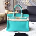 Best Hermes Birkin 30cm Togo Calfskin Bag Handstitched Gold Hardware, Lagoon 7V RS12398