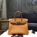 Copy Cheap Hermes Birkin 30cm Epsom Calfskin Original Leather Bag Handstitched Gold Hardware, Gold CK37 RS01767