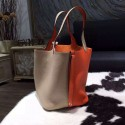 Copy Hermes Bi-Color Picotin Lock Bag 22cm Taurillon Clemence Palladium Hardware Hand Stitched, Orange CC93/Gris Tourterelle CK81 RS19960