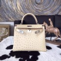 Fake Hermes Autruche Ostrich Kelly 28cm Bag Handstitched Palladium Hardware, Parchemin 3C RS11421