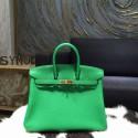 Hermes Birkin 25cm Veau Crispe Togo Calfskin Bag Hand Stitched Gold Hardware, Bambou 1K RS03390