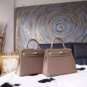 Hermes Kelly 25cm Epsom Calfskin Bag Handstitched Palladium Hardware, Etoupe CK18 RS03907