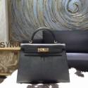 Hermes Kelly 28/32cm Epsom Calfskin Original Leather Bag Hand Stitched, Noir Black RS09638