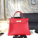 Hermes Kelly 28cm Epsom Calfskin Original Leather Bag Handstitched Gold Hardware, Rouge Casaque Q5/Blue Thalassa 7A Interior RS06866