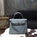 Hermes Kelly 28cm Togo Calfskin Bag Handstitched Palladium Hardware, Blue Orage N7 RS04159