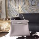 Hermes Kelly 28cm Togo Calfskin Bag Handstitched Palladium Hardware, Gris Tourterelle CK81 RS06155