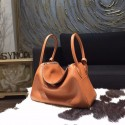 Hermes Lindy 26cm/30cm Taurillon Clemence Calfskin Bag Handstitched Palladium Hardware, Gold CK37 RS10845