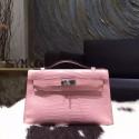 Hermes Mini Kelly Pochette 22cm Matte Alligator Crocodile Skin Palladium Hardware Handstitched, Pink 5P RS02809