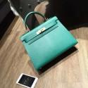 Imitation Hermes Kelly 28cm Epsom Calfskin Bag Handstitched Gold Hardware, Malachite Z6 RS14722
