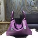 Imitation Hermes Lindy 26cm Taurillon Clemence Calfskin Bag Hand Stitched, Ultraviolet 5L RS16536