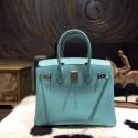 Luxury Hermes Birkin 30cm Epsom Calfskin Bag Handstitched Palladium Hardware, Blue Atoll 3P RS20064