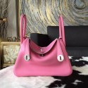 Quality Hermes Lindy 26cm/30cm Swift Calfskin Bag Handstitched Palladium Hardware, Pink 5P RS16146