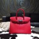 Replica Hermes Birkin 30cm Epsom Calfskin Bag Handstitched Palladium Hardware, Rouge Casaque Q5 RS15569