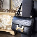 Replica Hermes Constance 23cm Matte Alligator Crocodile Original Leather Fully Handstitched Palladium Hardware, Noir CK89 RS00487