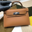 High Imitation Hermes Kelly Mini II In Original leather 20cm Silver Hardware Wine Brown Bag RS26231