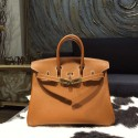 Replica Quality Hermes Birkin 25cm Epsom Calfskin Bag Handstitched Gold Hardware, Gold CK37 RS16636
