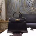 Top Hermes Kelly 28cm Box Calfskin Bag Handstitched Gold Hardware, Noir RS11301