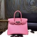 Top Knockoff Hermes Birkin 30cm Epsom Calfskin Bag Handstitched Palladium Hardware, Pink 5P RS04826