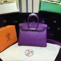 VIP ORDER Hermes Birkin 35cm Taurillon Clemence Bag Hand Stitched Palladium Hardware, Raisin CC59 Ultraviolet 5L RS08362