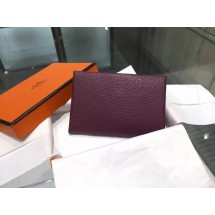 Best Hermes Calvi Card Holder Case Handstitched Taurillon Clemence Calfskin, Cassis N5 RS06344