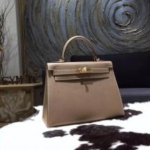 Cheap Hermes Kelly 28cm Epsom Calfskin Bag Gold Hardware Handstitched, Etoupe CK18 RS00020