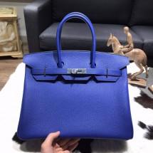 Copy Best Hermes Birkin 35cm Togo Calfskin Leather Bag Palladium Hardware Handstitched, Blue Electric CK7T RS21287