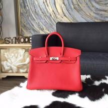 Hermes Birkin 25cm Togo Calfskin Bag Handstitched Palladium Hardware, Rouge Pivoine 2R RS19141