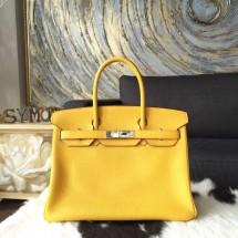 Hermes Birkin 30cm Taurillon Clemence Calfskin Original Leather Bag Handstitched Palladium Hardware, Soleli 9H RS02532