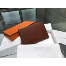 Hermes Calvi Card Holder Case Handstitched Taurillon Clemence Calfskin, Marron Fonce RS06625