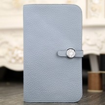 Hermes Dogon Combine Wallet In Blue Lin Leather RS15305