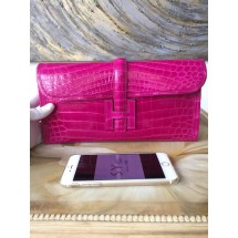 Hermes Jige Elan Clutch 29cm Alligator Crocodile Handstitched, Rose Scheherazade J5 RS01863