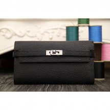 Hermes Kelly Longue Wallet In Black Clemence Leather RS17285