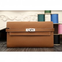 Hermes Kelly Longue Wallet In Brown Clemence Leather RS13981