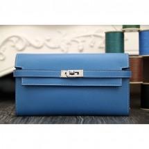 Hermes Kelly Longue Wallet In Jean Blue Epsom Leather RS05556