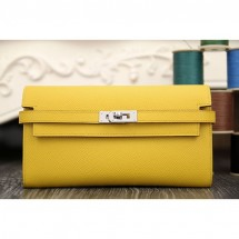 Hermes Kelly Longue Wallet In Yellow Epsom Leather RS13933