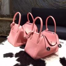 Hermes Lindy 26cm/30cm Taurillon Clemence Calfskin Bag Handstitched Palladium Hardware, Rose Sakura 3Q RS02037