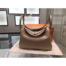 Hermes Lindy 30cm Taurillon Clemence Leather Palladium Hardware High Quality, Gris Tourterelle RS07213