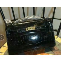 Hermes Mini Kelly KP Pochette 22cm Shiny Alligator Palladium Hardware Handstitched, Noir CK89 RS14977