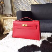 Hermes Mini Kelly Pochette 22cm Epsom Calfskin Leather Gold Hardware, Rouge Casaque Q5 RS17643