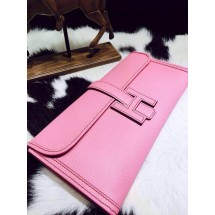Luxury Hermes Jige Elan Clutch 29cm Epsom Calfskin Handstitched, Pink 5P RS15720