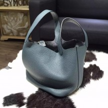 Replica Quality Hermes Picotin Lock Bag 18cm/22cm Taurillon Clemence Palladium Hardware Hand Stitched, Blue Tempete N7 RS10624
